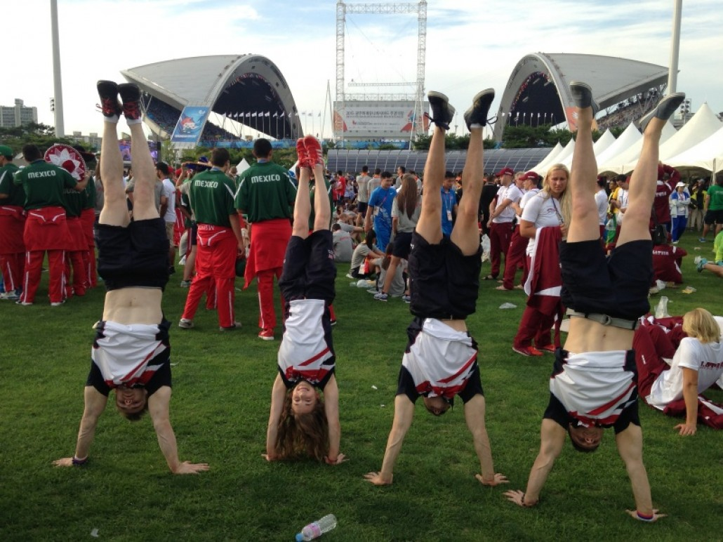 Kelly and GBR Mens Gymnastics Team at the Opening Ceremony