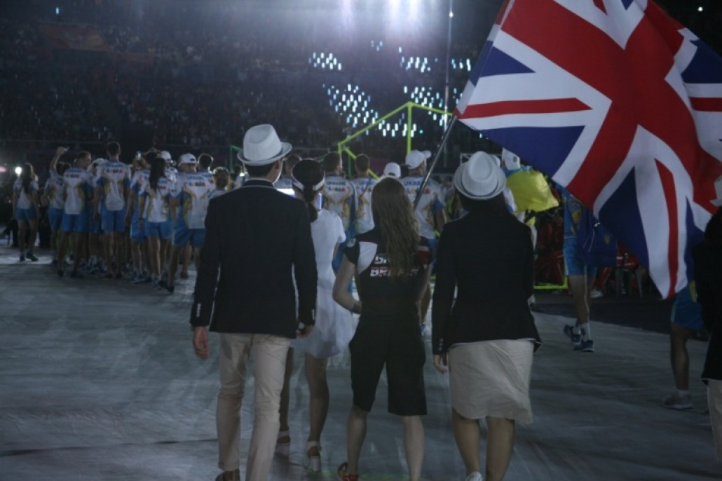 Kelly the Flag Bearer at the Opening Ceremony