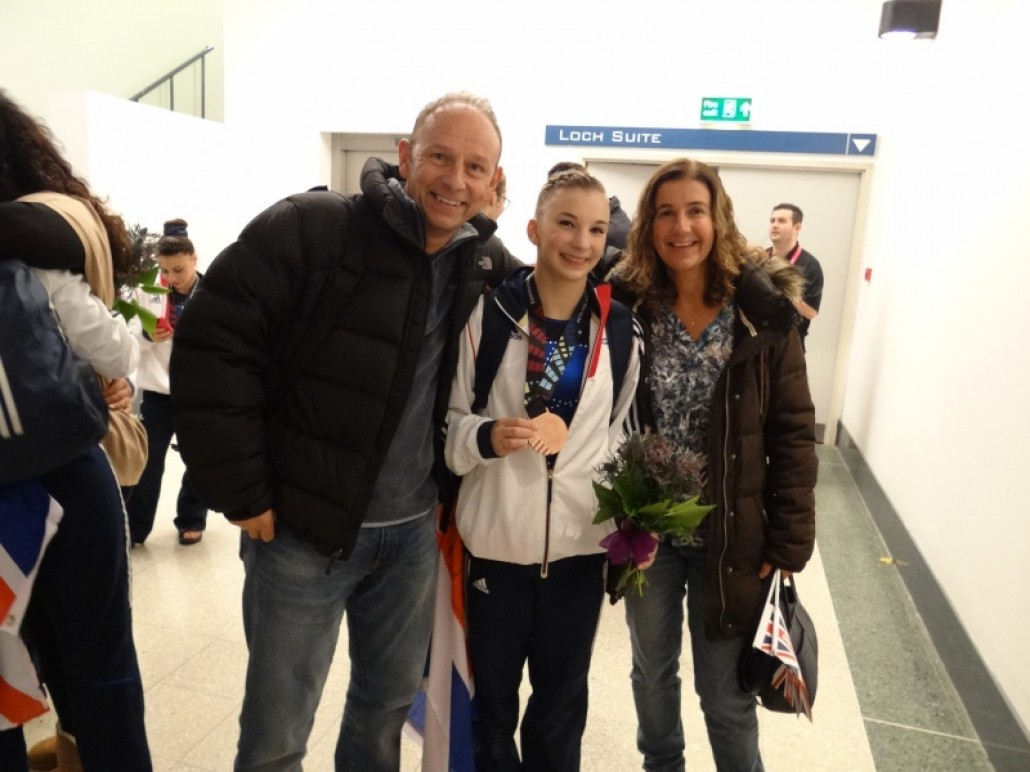 Kelly with Parents After Team Bronze